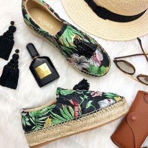 Black Tropical Floral Print Slip On Espadrilles